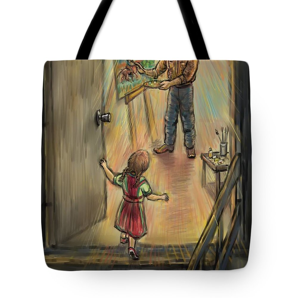 Father Tote Bag featuring the drawing Discovering Daddy's World by Dawn Senior-Trask