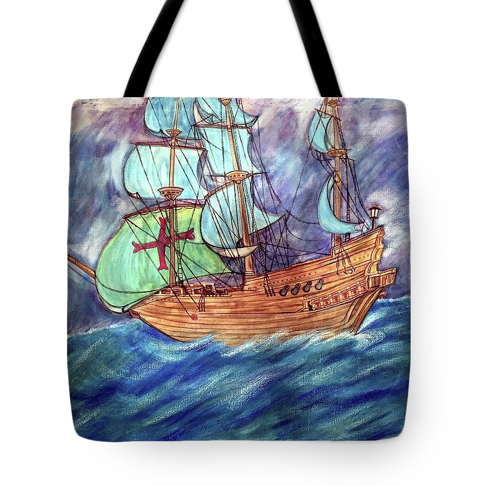 Seascape Tote Bag featuring the painting Discovery by Marco Morales
