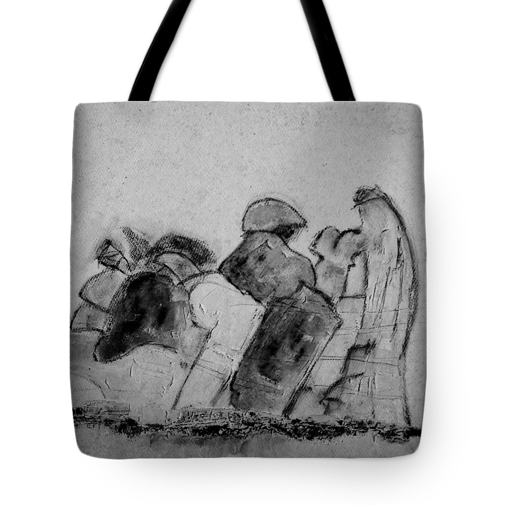 Grises Tote Bag featuring the painting Disertacion by Carlos Chacon