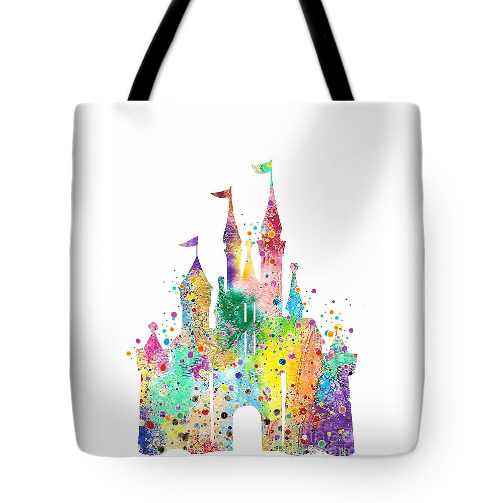 disney castle watercolor print tote bag for sale by svetla tancheva