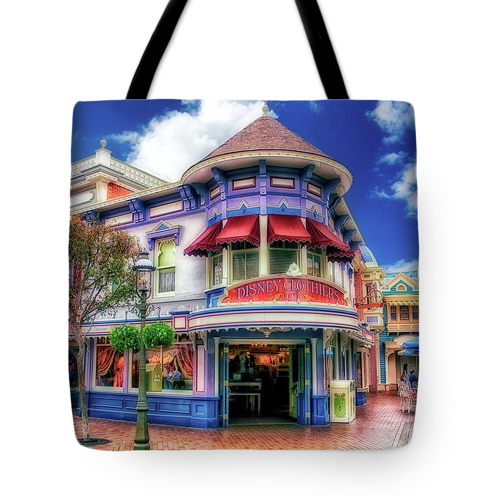 Disney Tote Bag featuring the photograph Disney Clothiers Main Street Disneyland 01 by Thomas Woolworth
