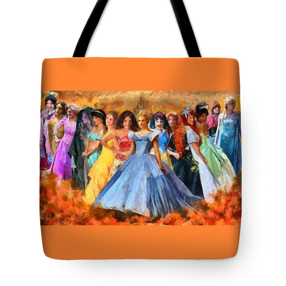 Disney's Princesses Tote Bag featuring the digital art Disney's Princesses by Caito Junqueira