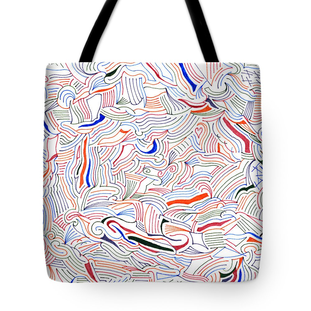 Mazes Tote Bag featuring the drawing Displacement by Steven Natanson