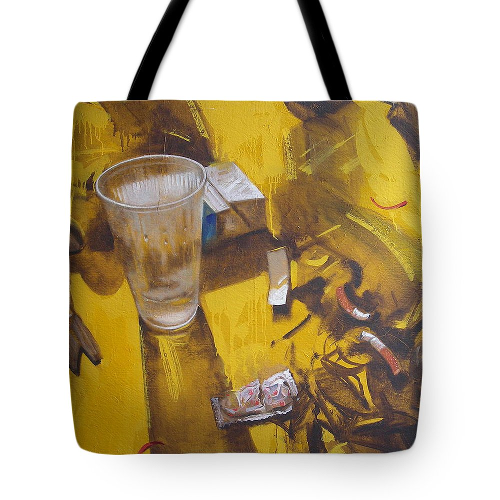 Disposable Tote Bag featuring the painting Disposable by Sergey Ignatenko