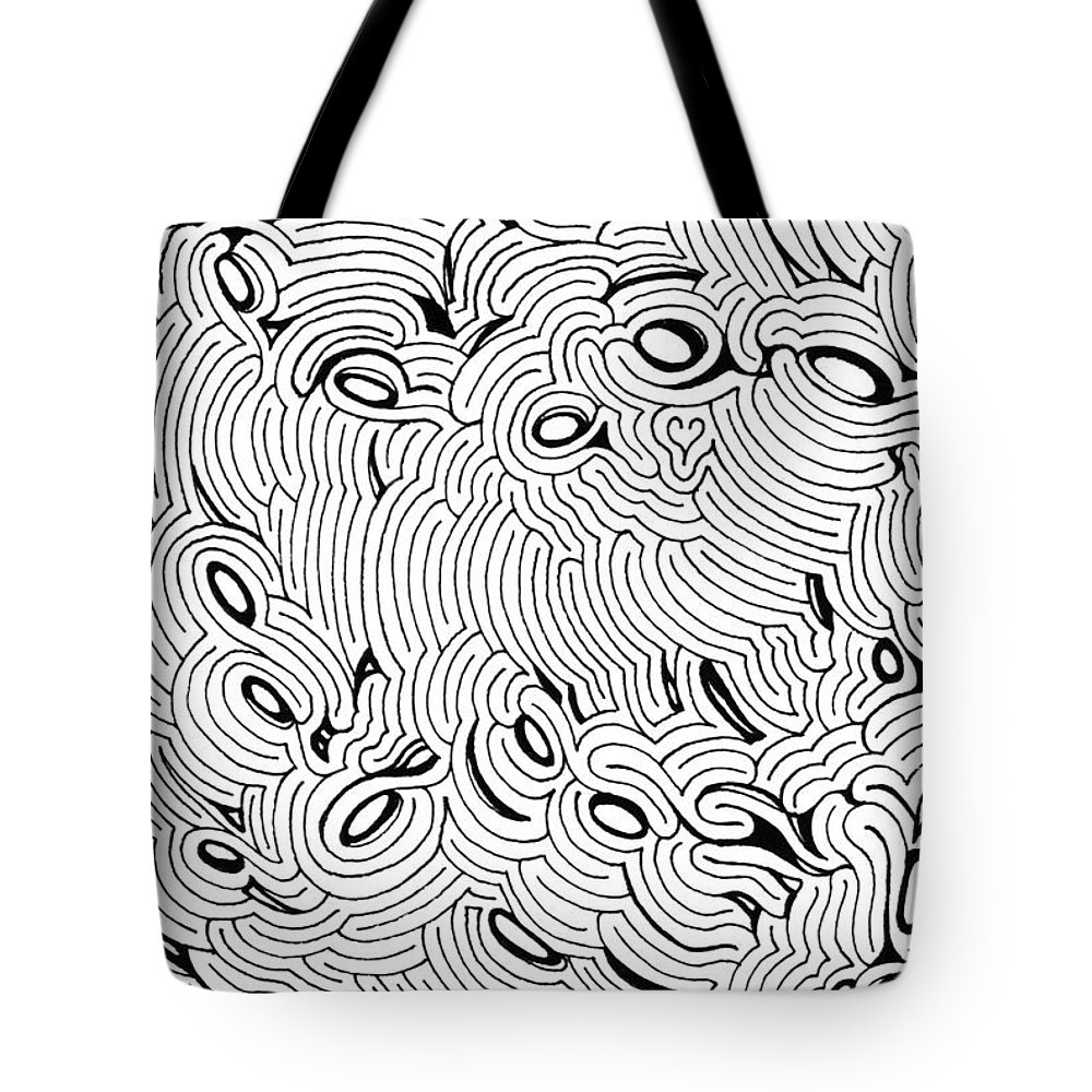 Mazes Tote Bag featuring the drawing Disruption by Steven Natanson