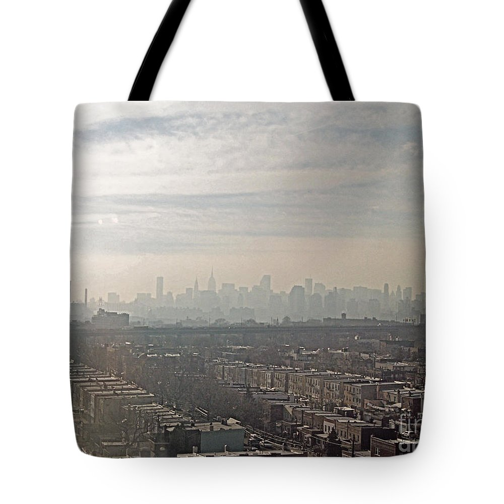 Brooklyn Tote Bag featuring the photograph Distant City by Paulette B Wright