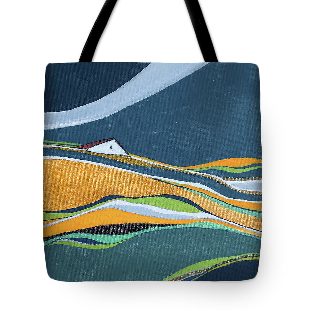 Abstract Tote Bag featuring the painting Distant House by Aniko Hencz