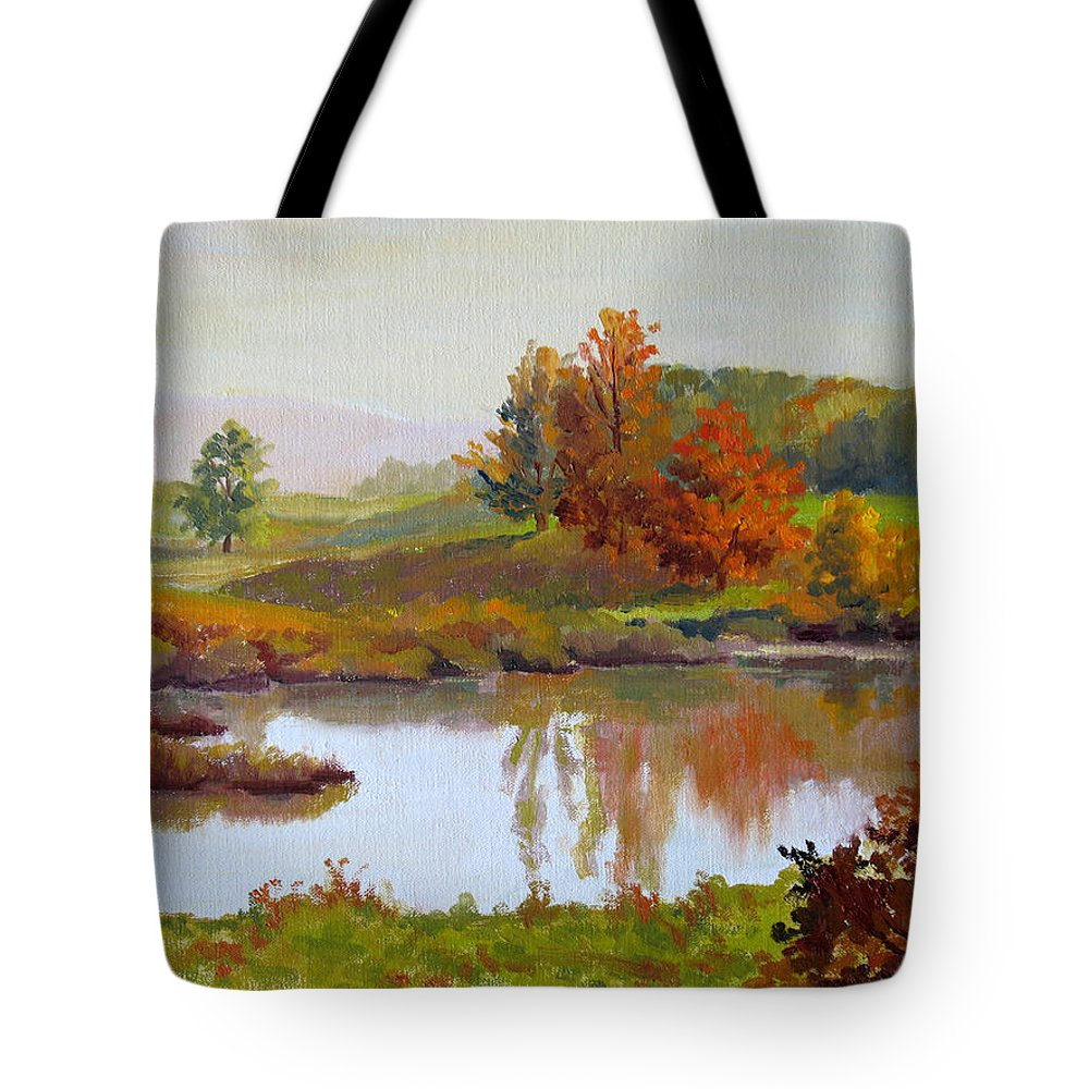 Landscape Tote Bag featuring the painting Distant Maples by Keith Burgess