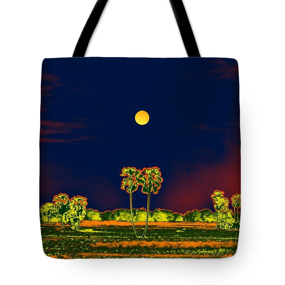 Nature Tote Bag featuring the digital art Distant Moon Desire by Bliss Of Art