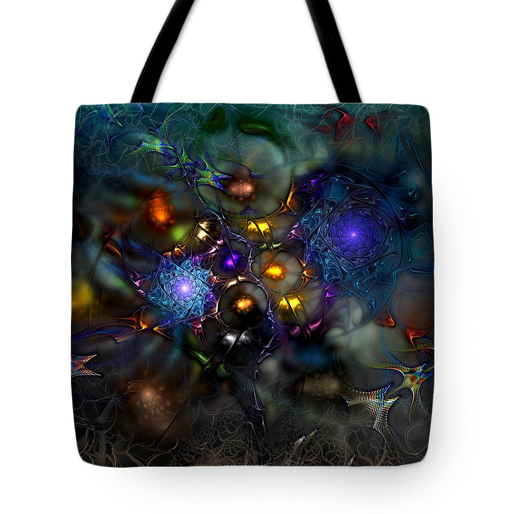 Abstract Tote Bag featuring the digital art Distant Realms Of The Imagination by Casey Kotas