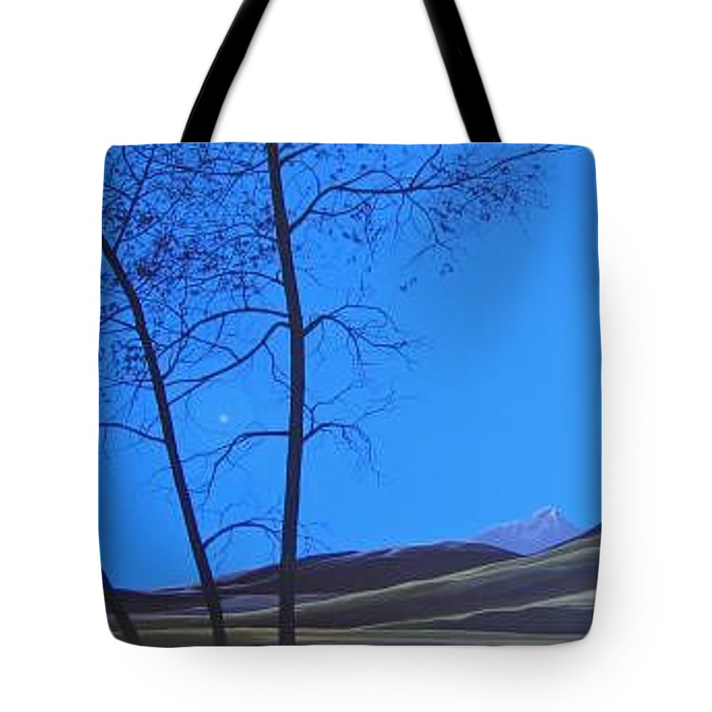 Mountains Tote Bag featuring the painting Distant Sun by Hunter Jay