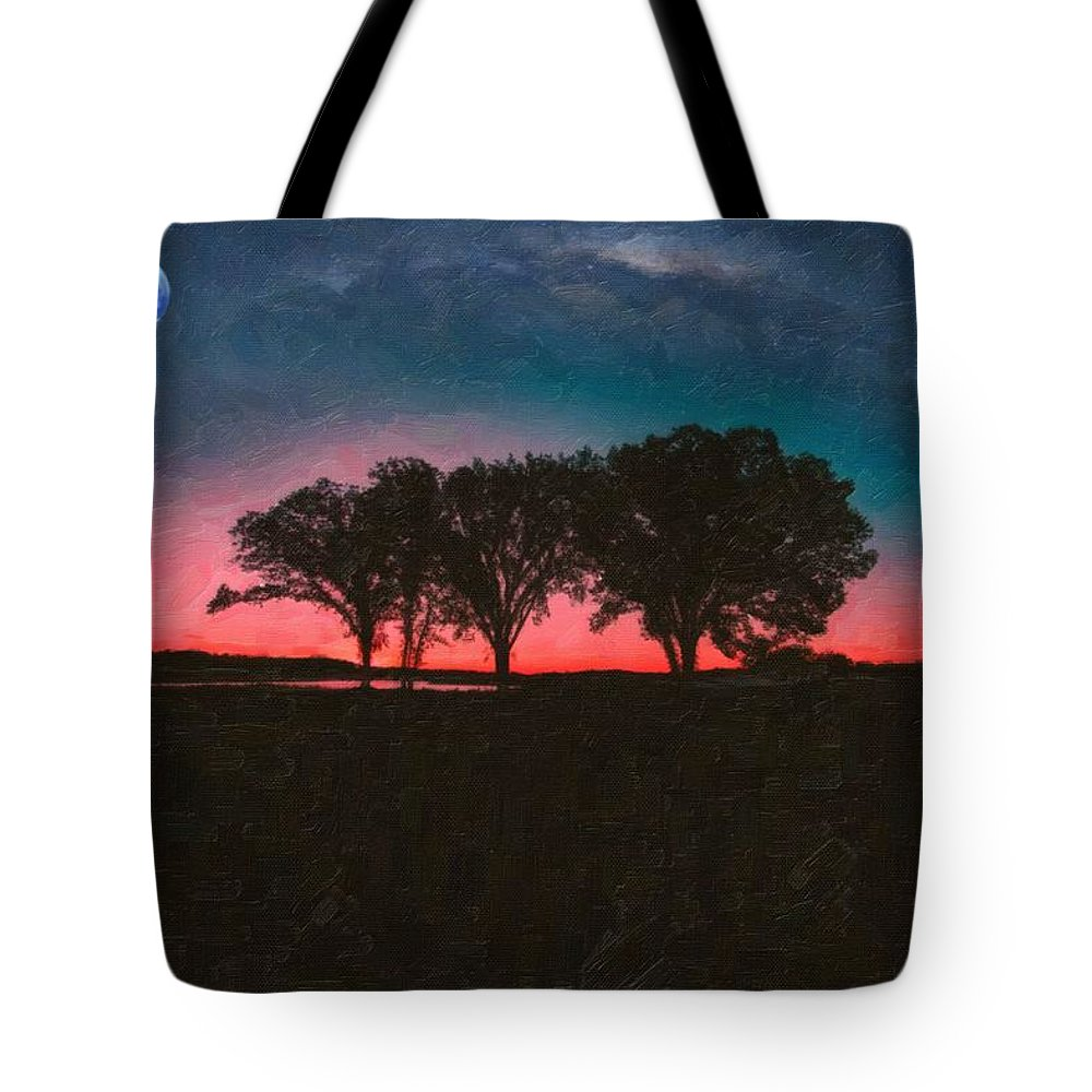 Nature Tote Bag featuring the painting Distant Trees Under Milkyway Horizon By Adam Asar 3 by Adam Asar