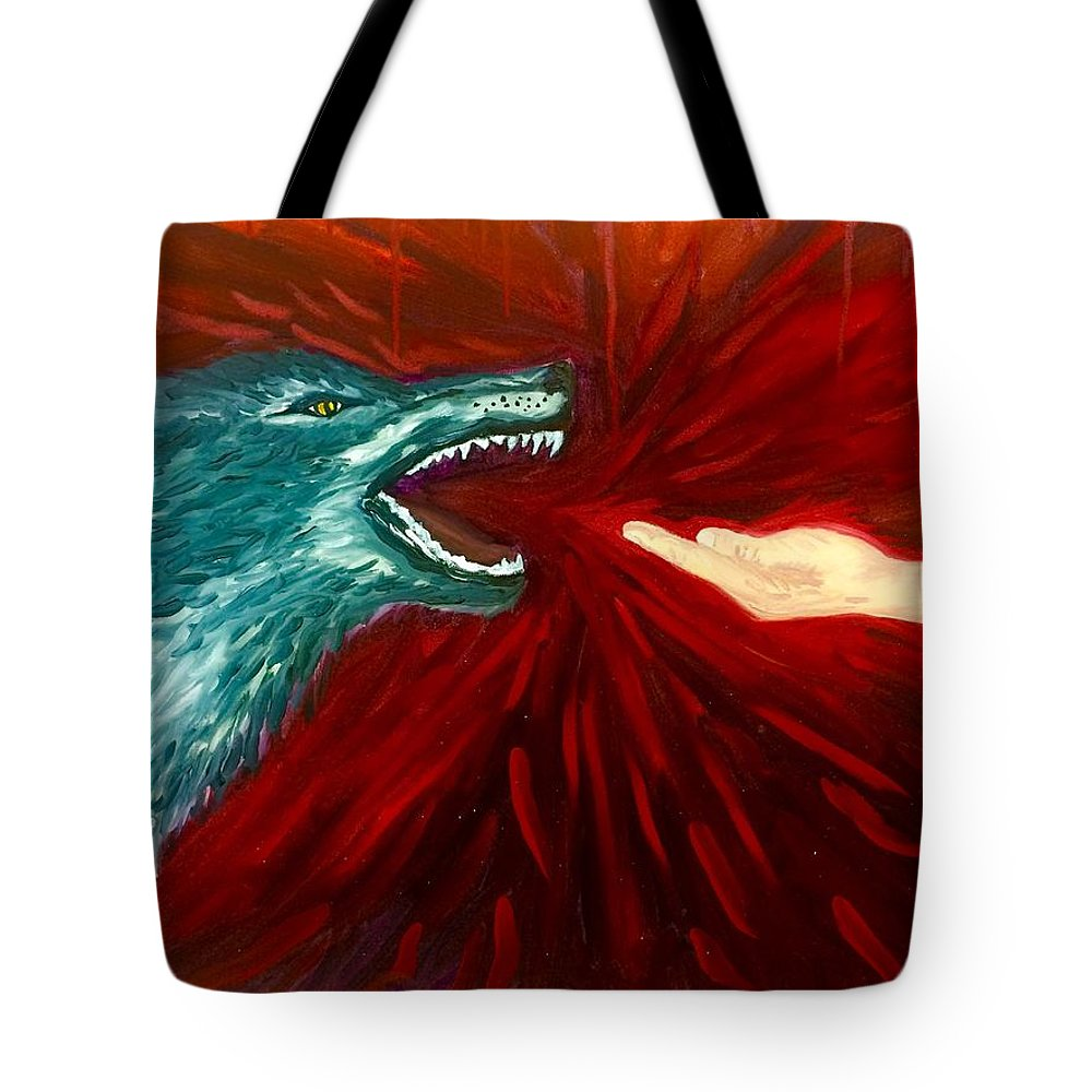 Wolf Tote Bag featuring the painting Distortion by Amber Carter