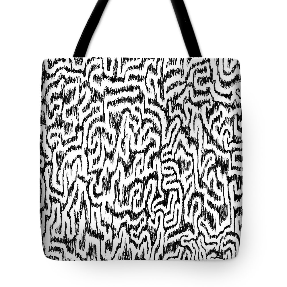 Mazes Tote Bag featuring the drawing Distortion by Steven Natanson
