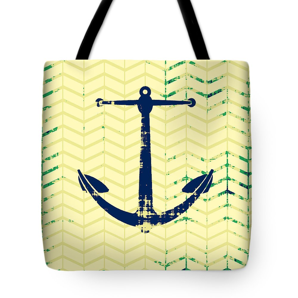 Brandi Fitzgerald Tote Bag featuring the digital art Distressed Navy Anchor by Brandi Fitzgerald