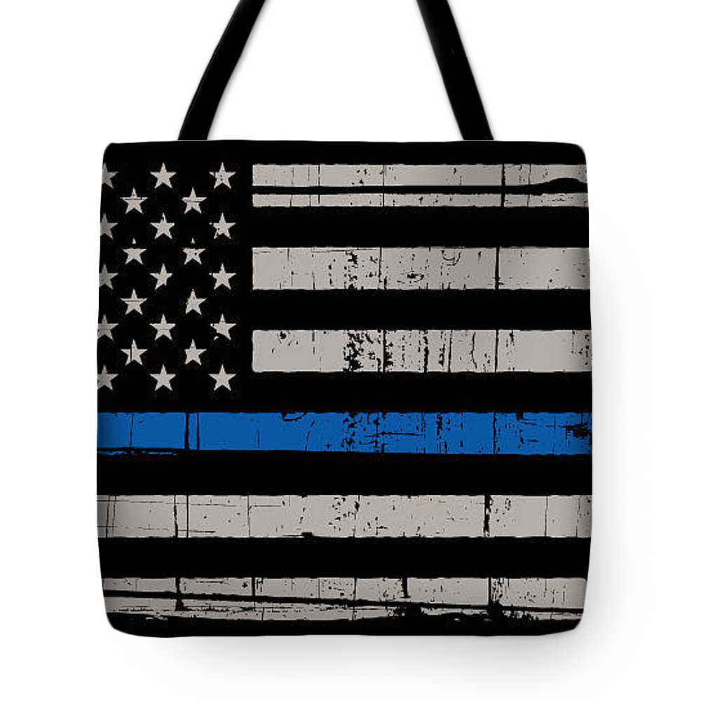 Thin Blue Line Tote Bag featuring the photograph Distressed Thin Blue Line by Police