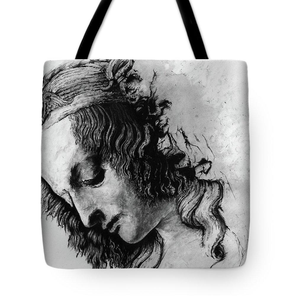 Portrait Woman Leonardo Da Vinci Italian Ancient Renaissance Reproduction Mary Magdalene Christ Code Tote Bag featuring the drawing Districhi Di Magdalene by Priscilla Vogelbacher