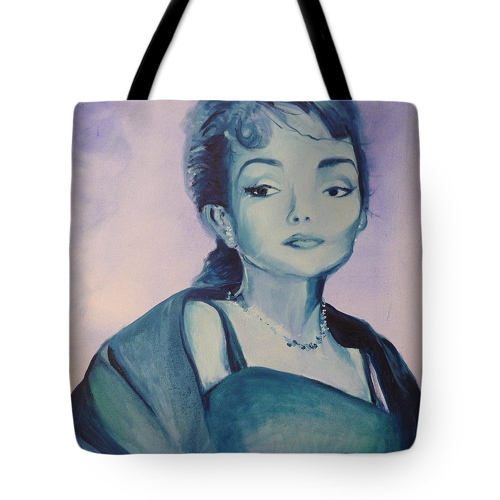 Maria Callas Tote Bag featuring the painting Diva I Maria Callas by Lizzy Forrester