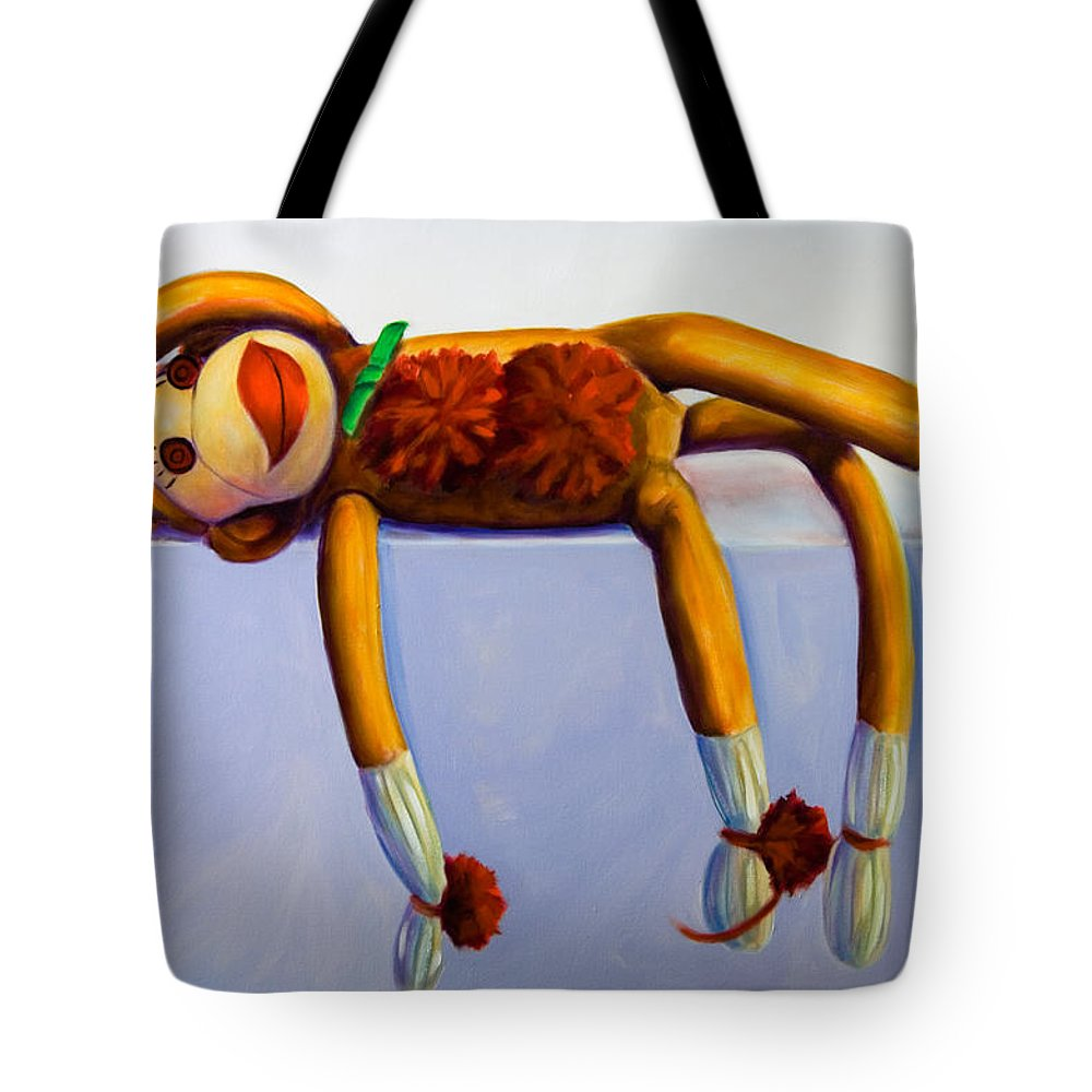 Diva Tote Bag featuring the painting Diva Made Of Sockies by Shannon Grissom