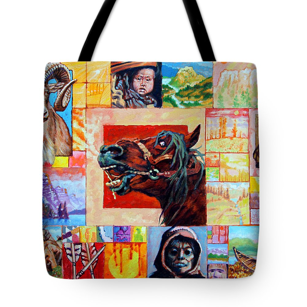 American Indian Tote Bag featuring the painting Divided Land - Crying Horse by John Lautermilch