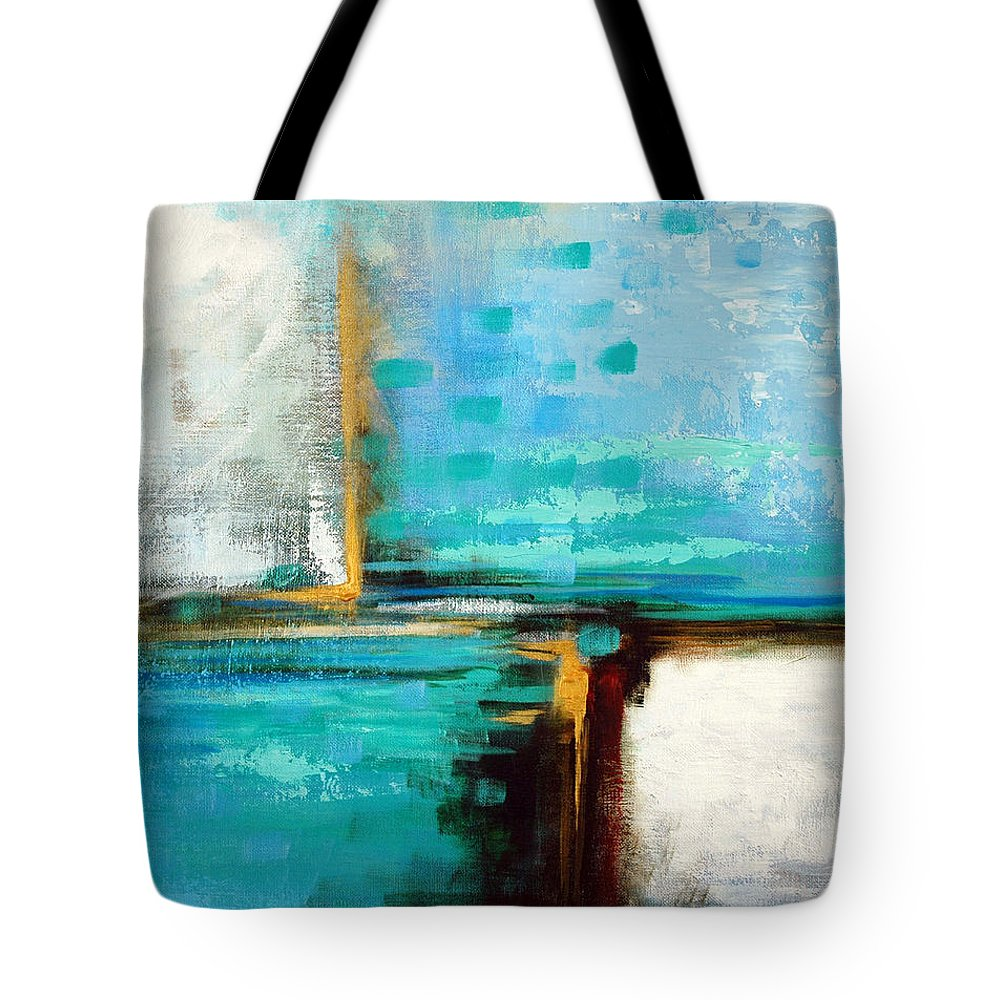Abstract Tote Bag featuring the painting Divided Loyalties by Suzanne McKee