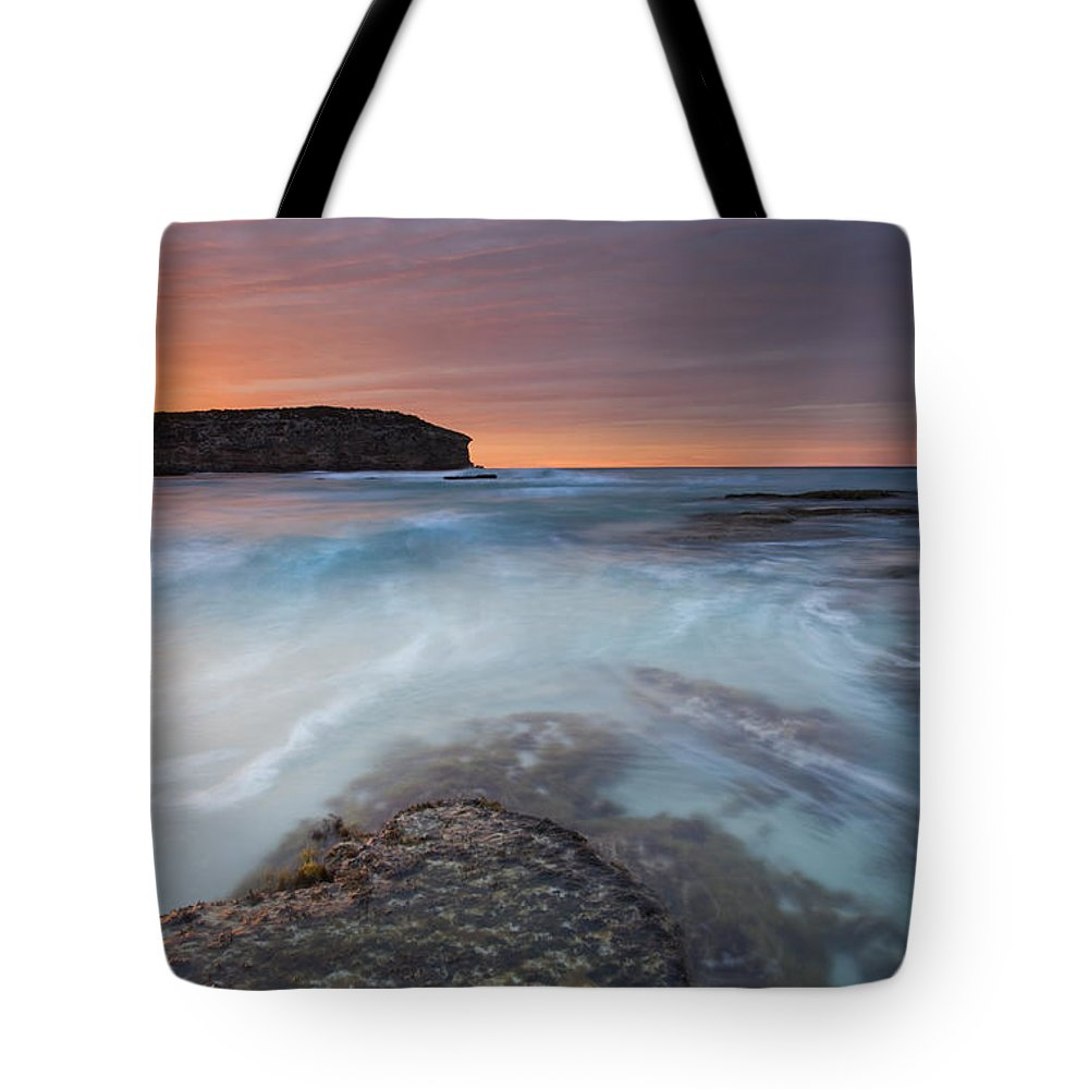 Dawn Tote Bag featuring the photograph Divided Tides by Mike Dawson