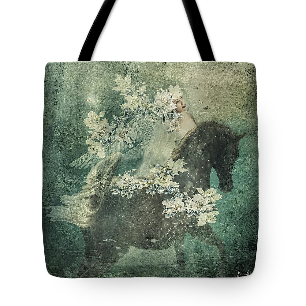 Horse Tote Bag featuring the digital art Divine Horse Whisperer by Barbara A Lane