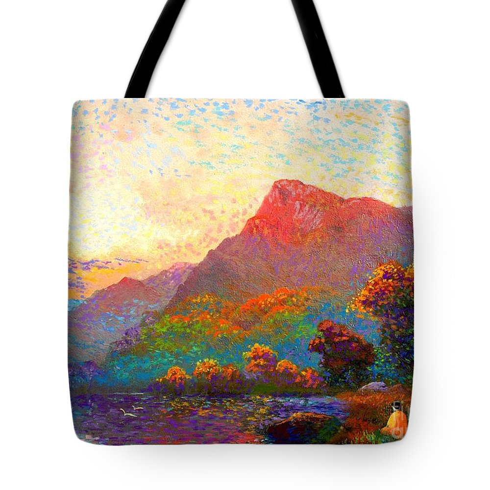Meditation Tote Bag featuring the painting Buddha Meditation, Divine Light by Jane Small