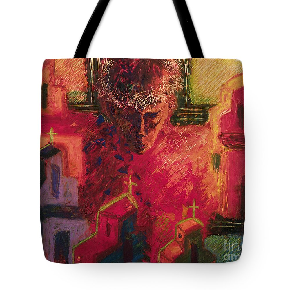 Divine Love Tote Bag featuring the painting Divine Love - Bgdil by Fr Bob Gilroy SJ