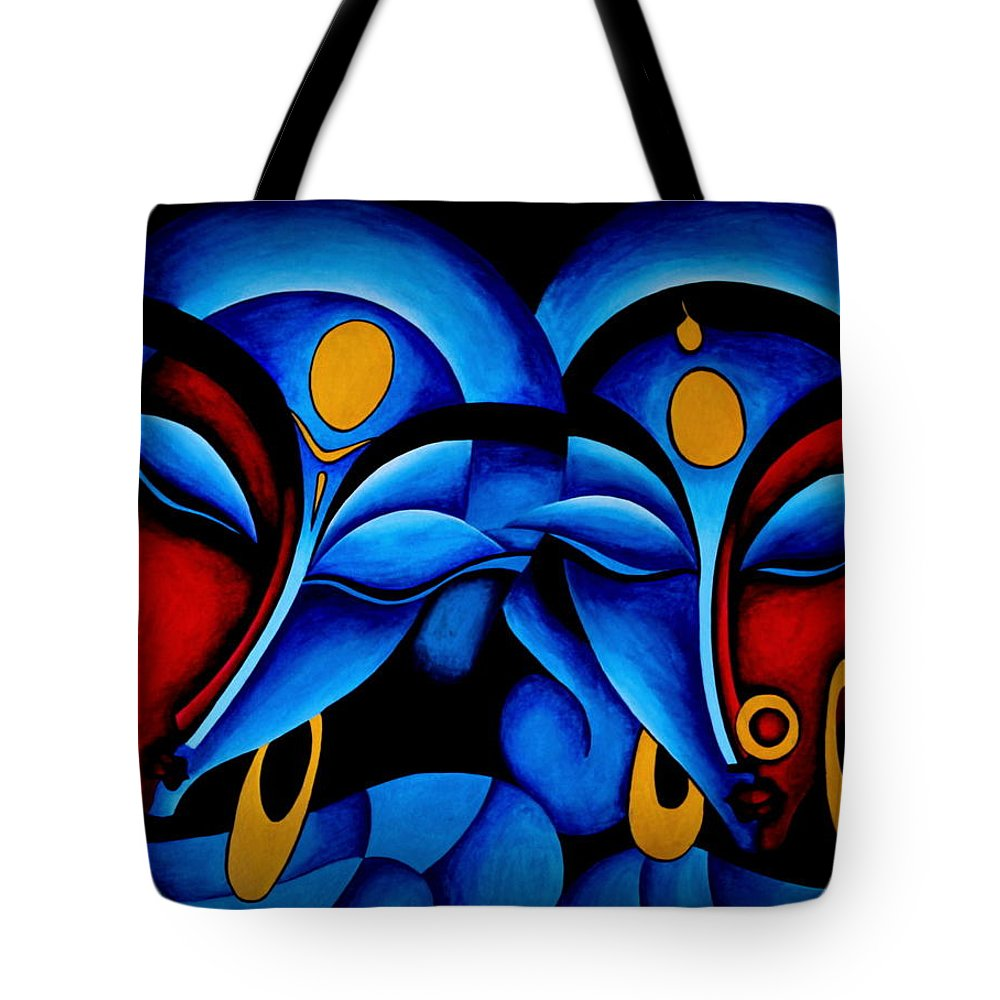 Divine Love Tote Bag featuring the painting Divine Love by Bijna Balan