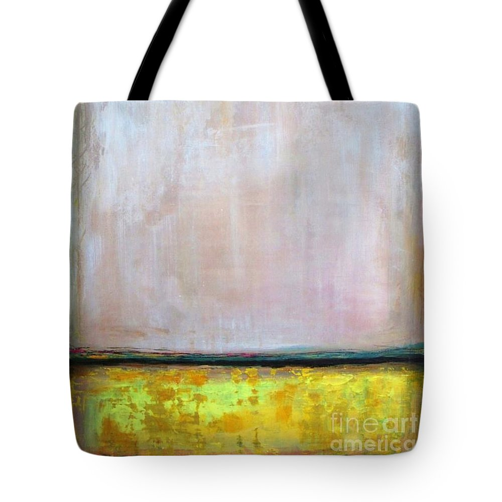 Abstract Tote Bag featuring the painting Divine Of Canola Field by Vesna Antic