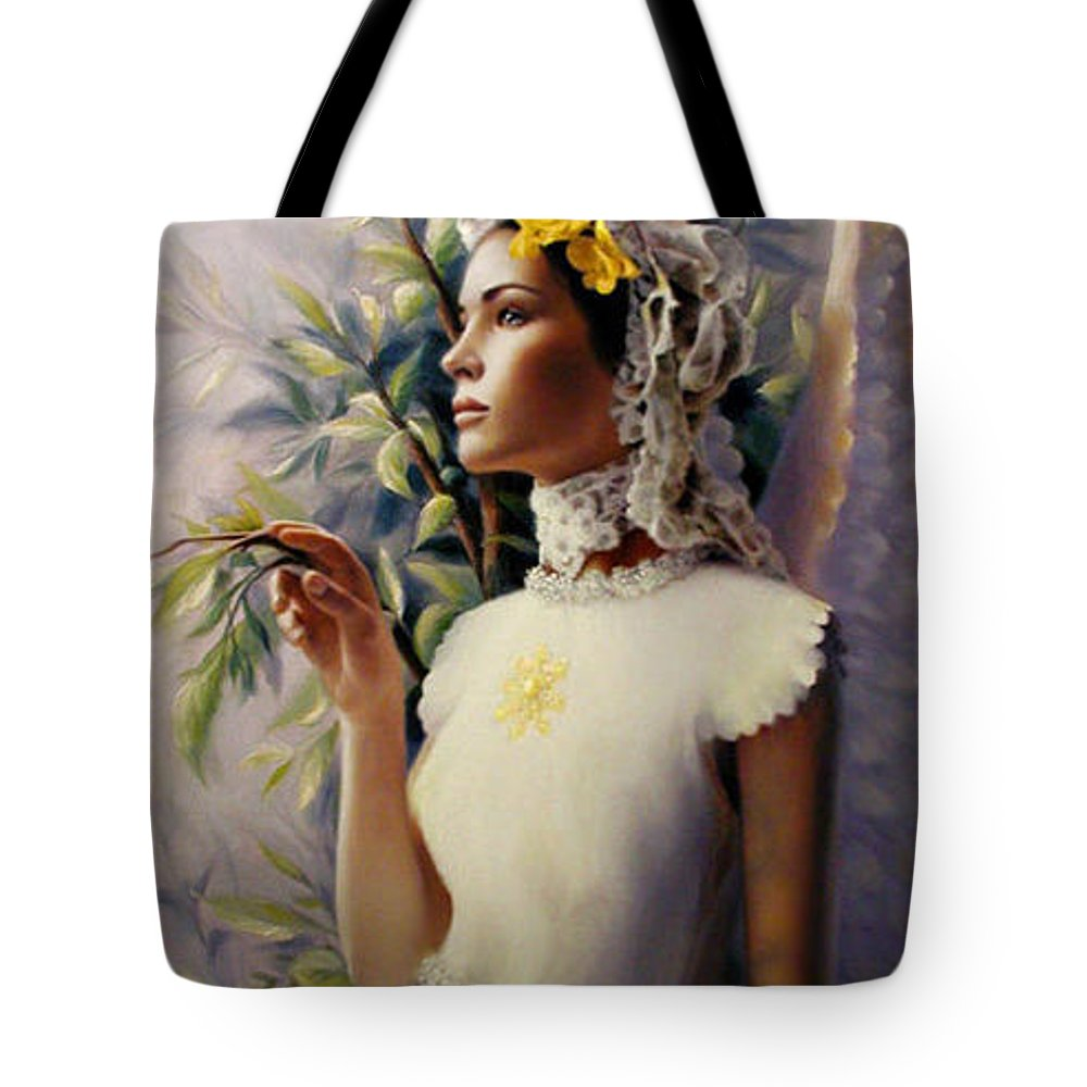 Spiritual Tote Bag featuring the painting Divine Whisper by Stephen Lucas