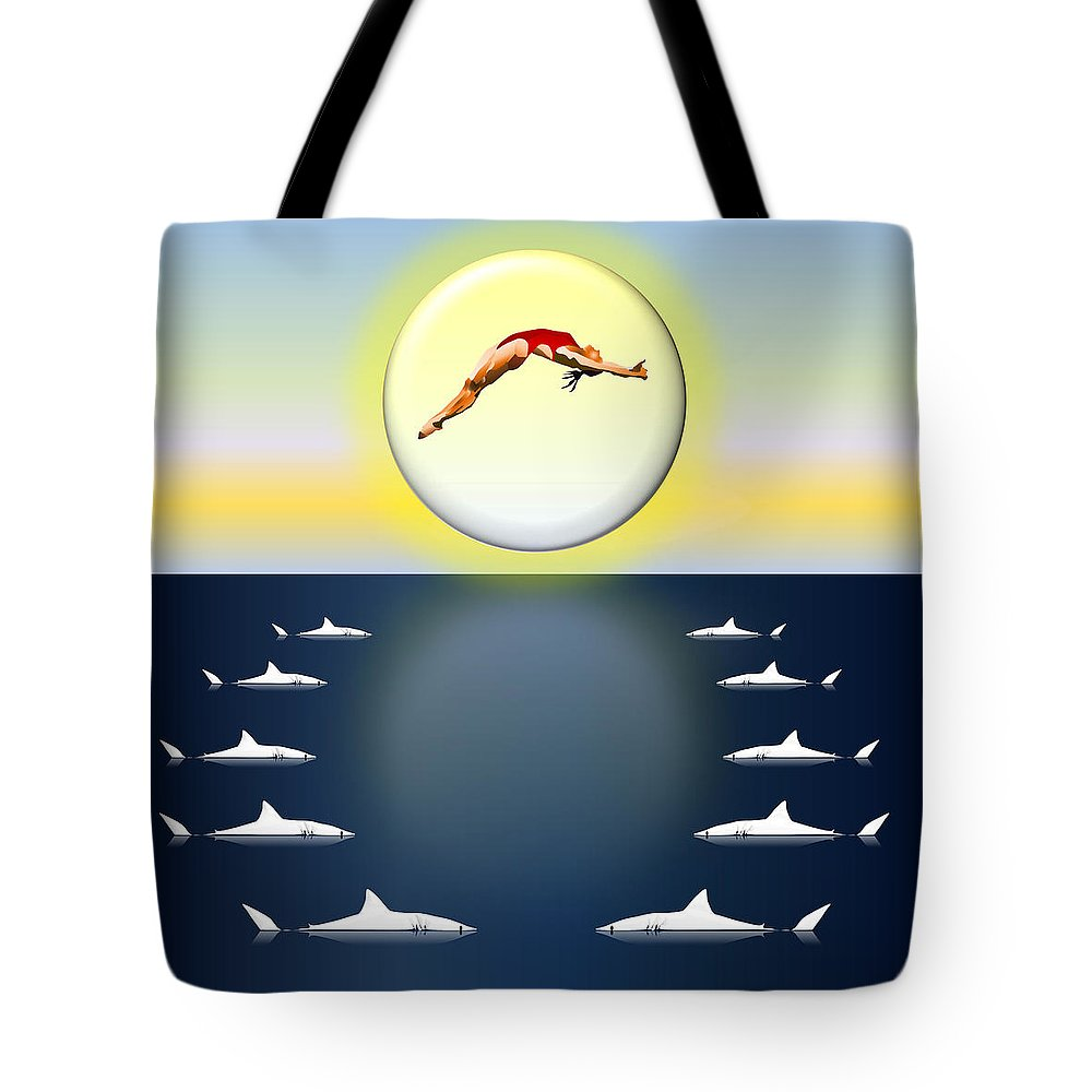 Diving Tote Bag featuring the digital art Diving Into Unknown Waters by Robert De Monos