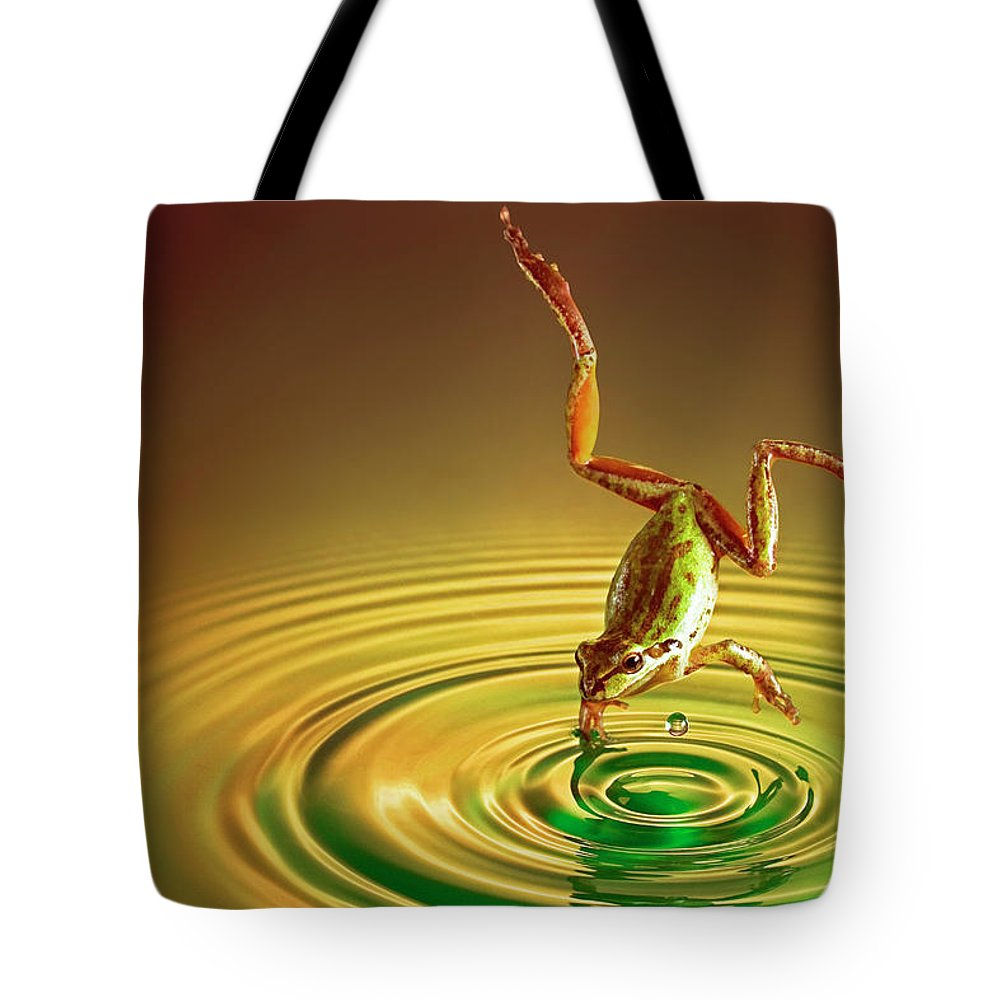 Frog Tote Bag featuring the photograph Diving by William Freebilly photography