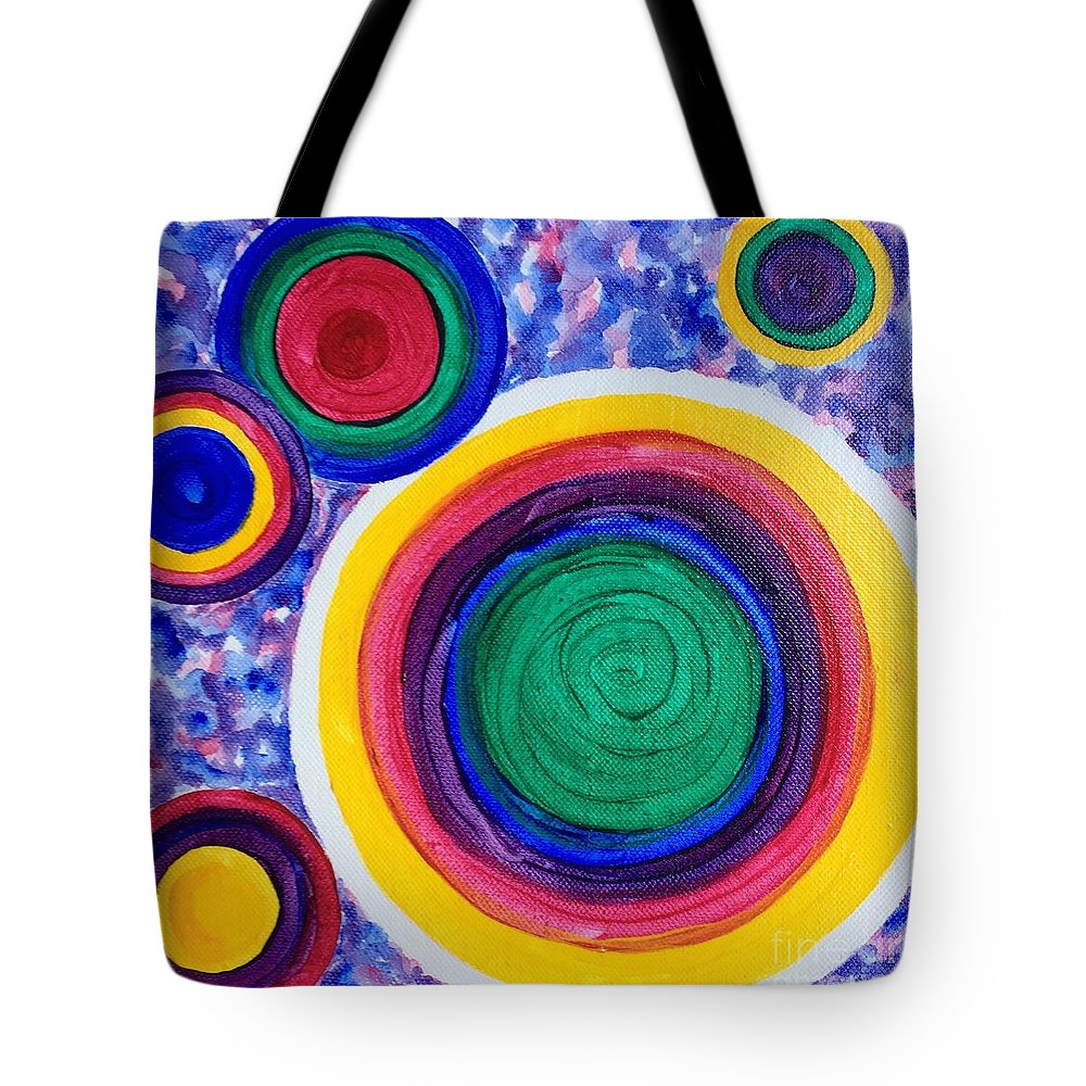 Circles Tote Bag featuring the painting Dizzy by E Cumbess