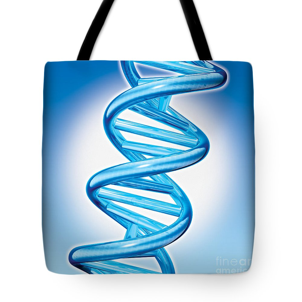 Dna Tote Bag featuring the digital art Dna Double Helix by Marc Phares and Photo Researchers