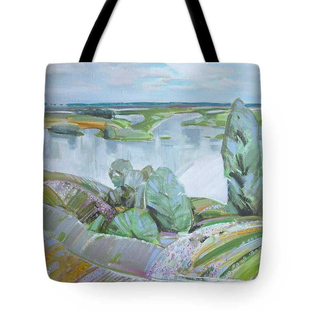 Landscape Tote Bag featuring the painting Dnepro River by Sergey Ignatenko