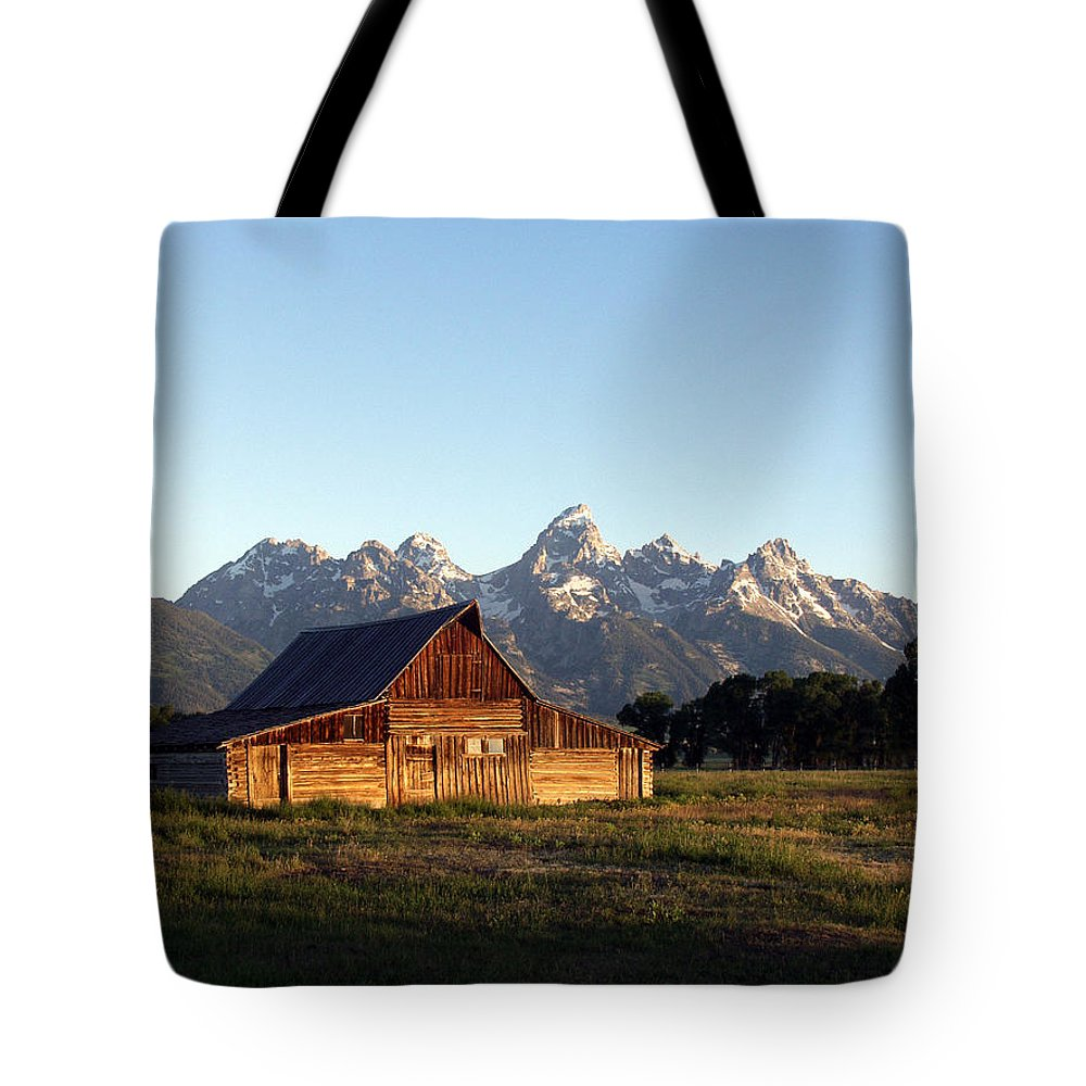 Landscape Yellowstone Grand Tetons Cabin Tote Bag featuring the photograph Dnrd0104 by Henry Butz