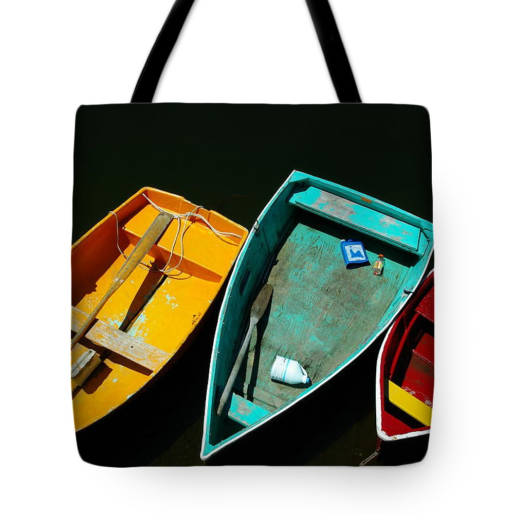 Landscape Nautical Row Boat New England Rockport Tote Bag featuring the photograph Dnre0603 by Henry Butz