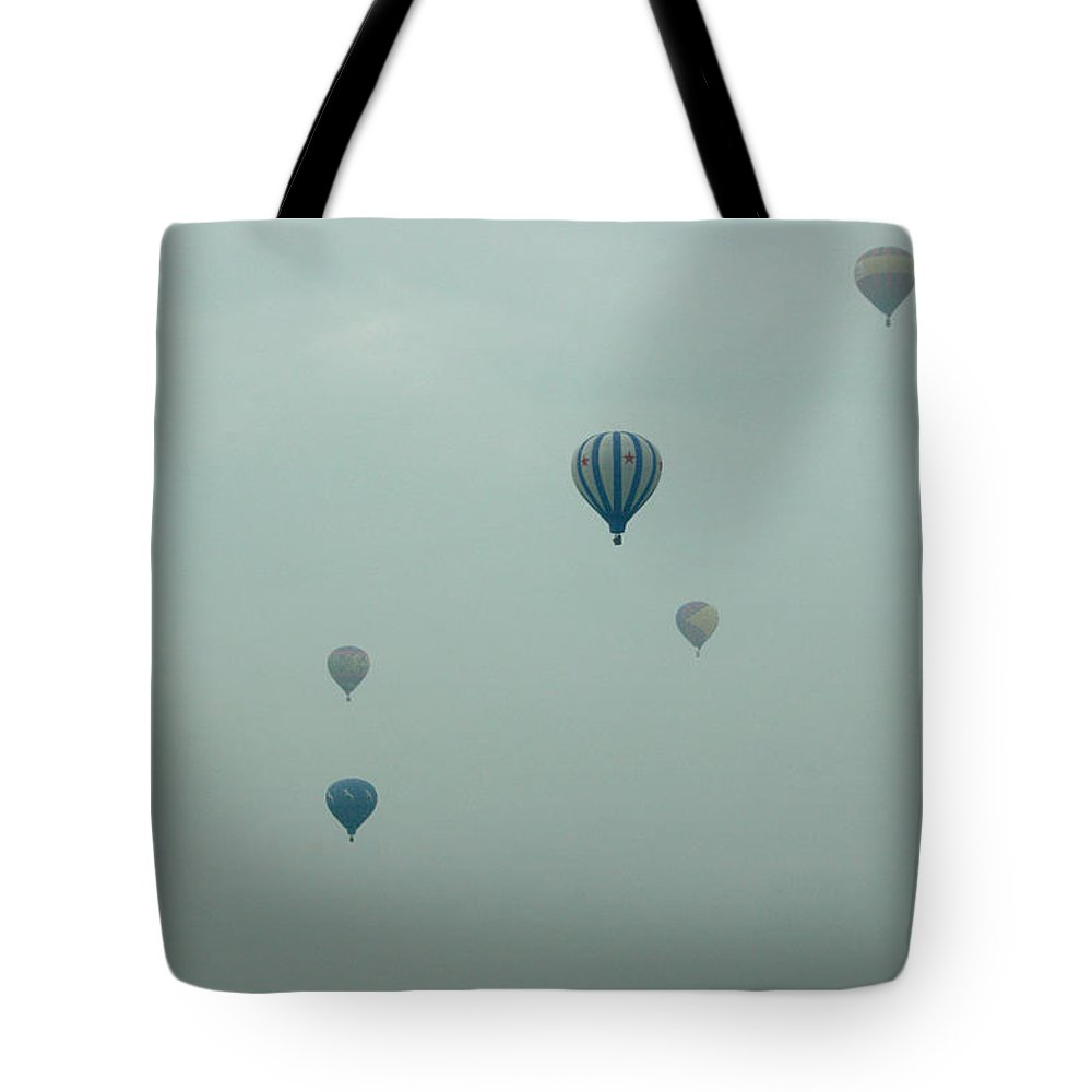 Adirondack Balloon Festival Mist Flight Tote Bag featuring the photograph Dnrg0908 by Henry Butz