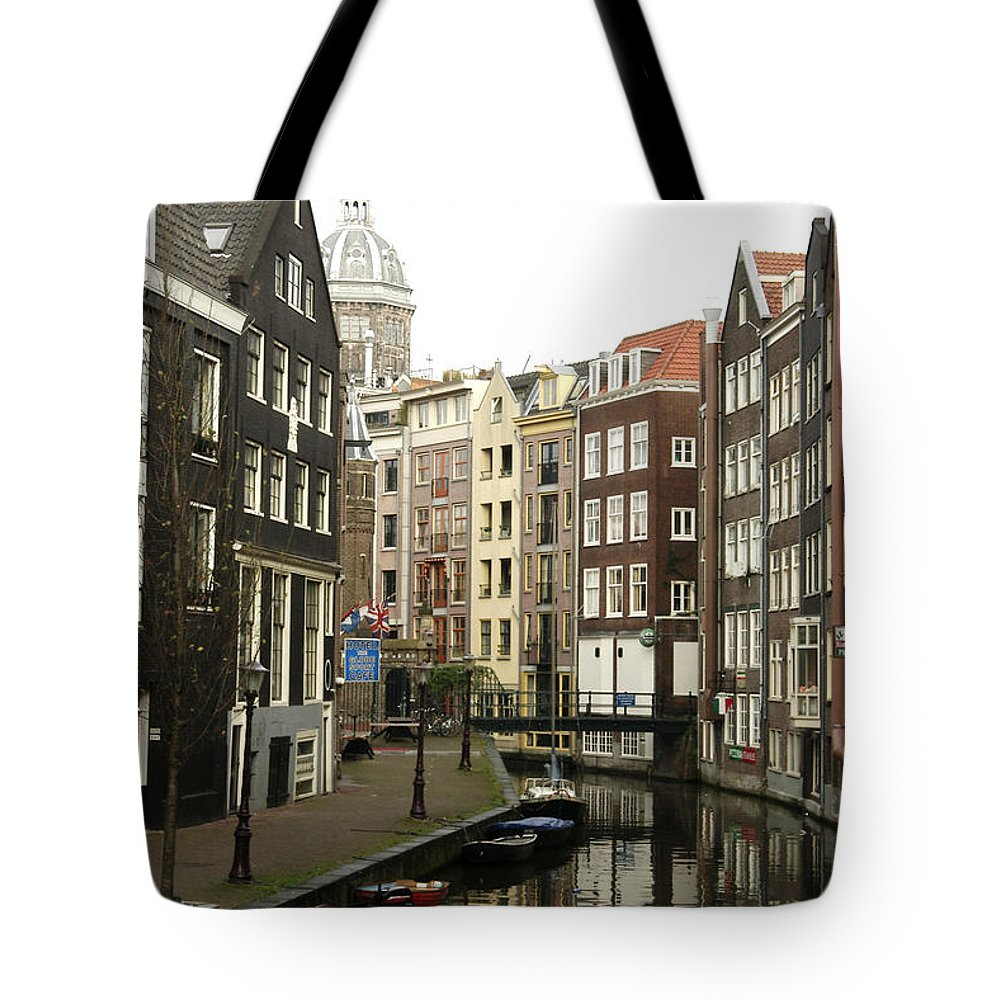 Landscape Amsterdam Red Light District Tote Bag featuring the photograph Dnrh1101 by Henry Butz