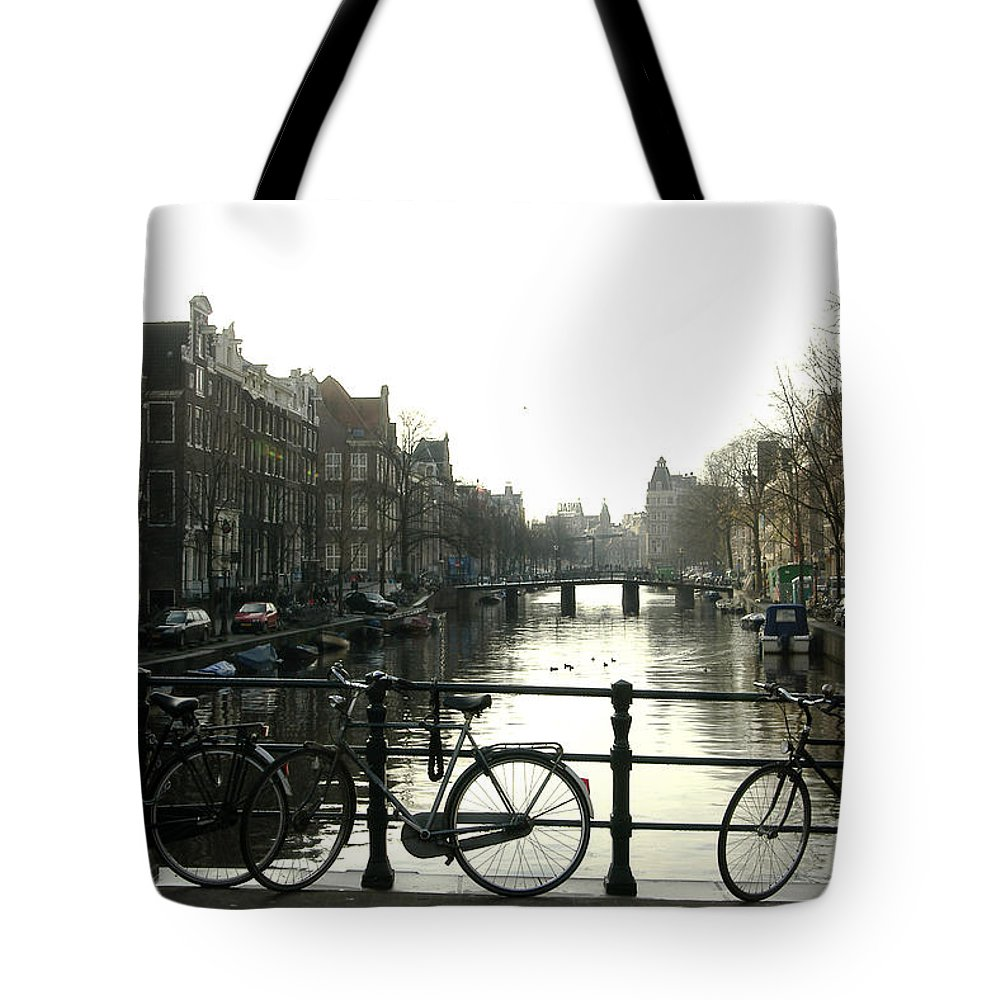 Landscape Amsterdam Red Light District Tote Bag featuring the photograph Dnrh1103 by Henry Butz
