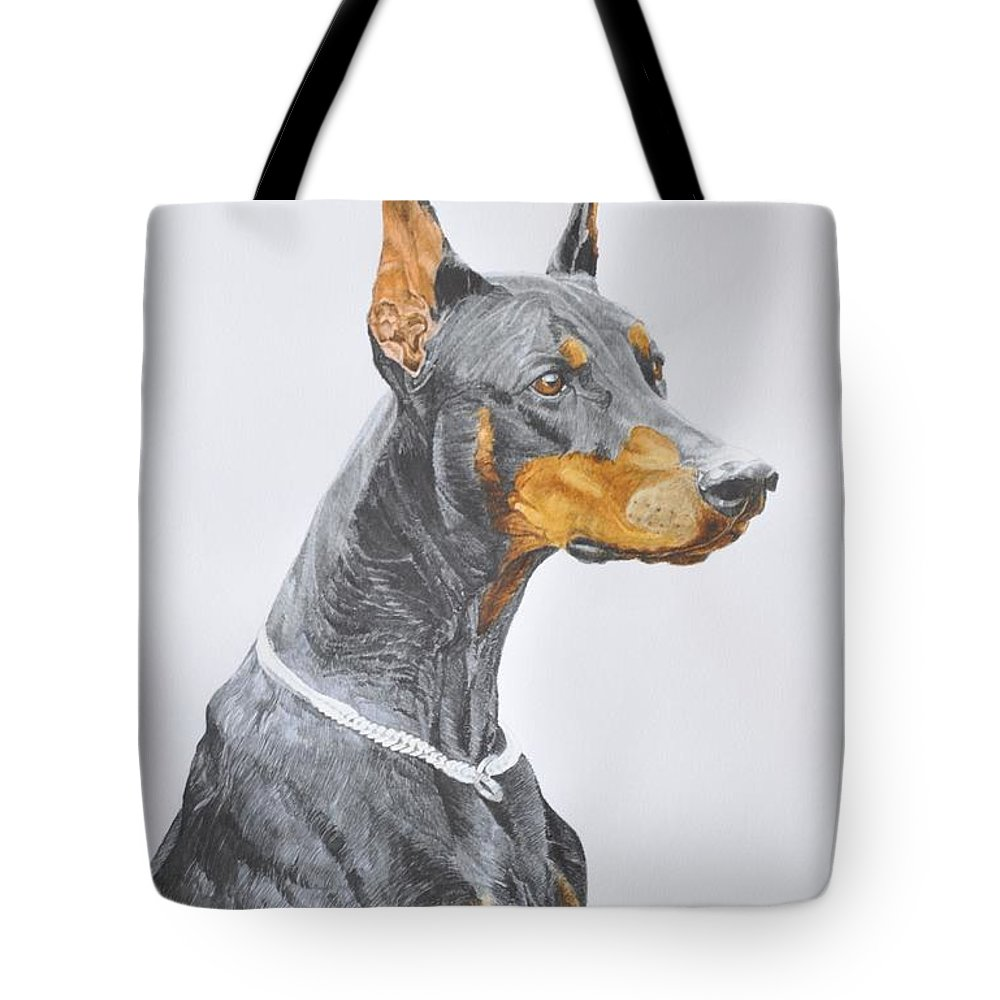 Dog Tote Bag featuring the painting Doberman by Desimir Rodic