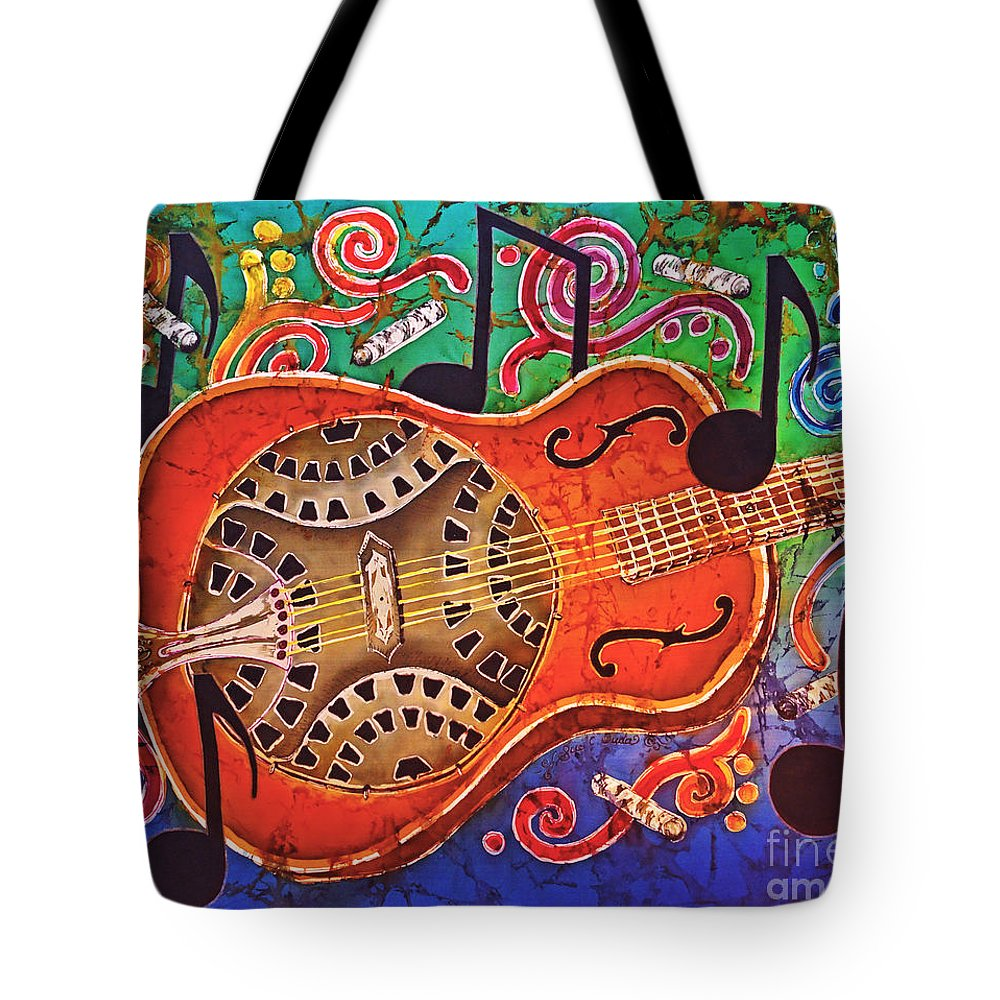 Dobro Tote Bag featuring the tapestry - textile Dobro - Slide Guitar by Sue Duda