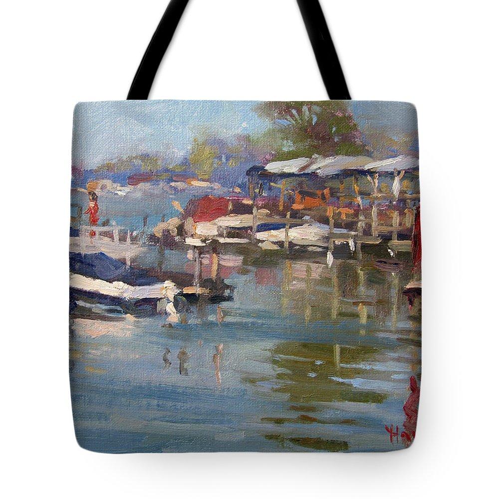 Dock Tote Bag featuring the painting Dock In North Tonawanda by Ylli Haruni