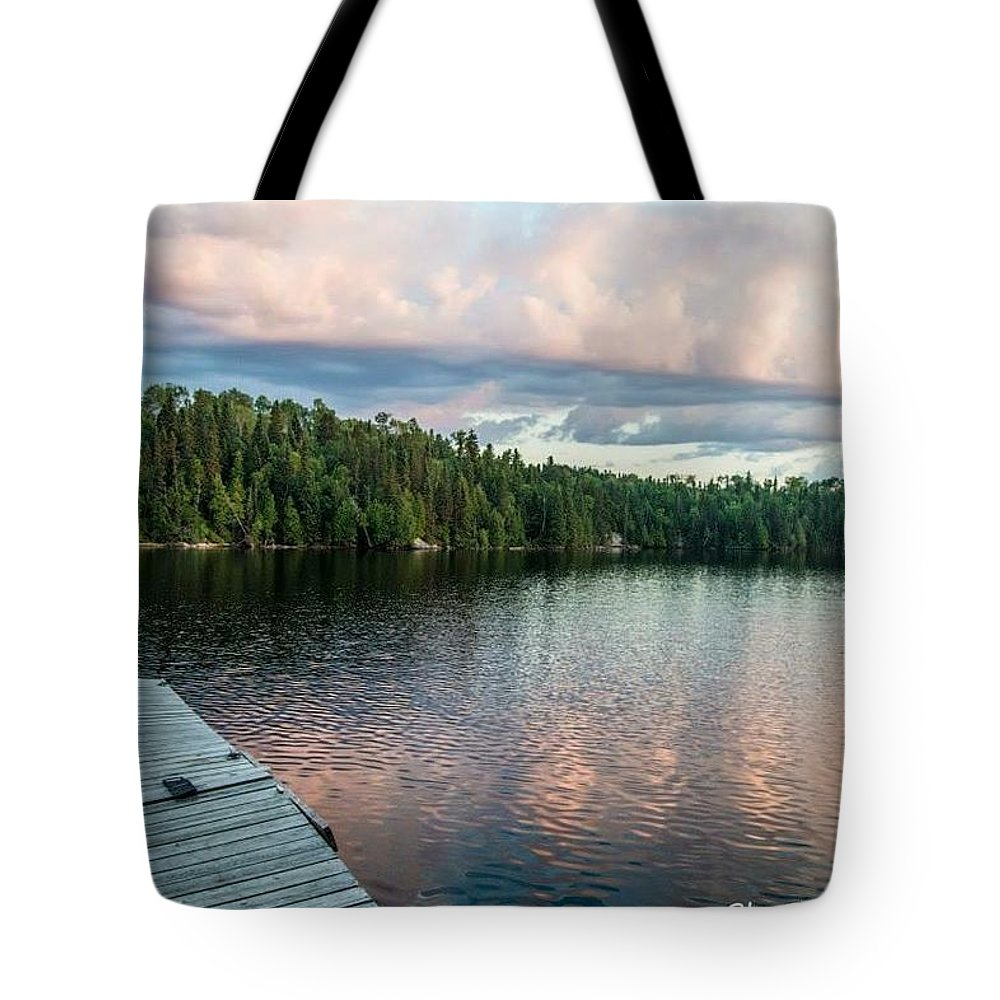 Lake Onaping Tote Bag featuring the photograph Dock Of The Lake by Megan Miller