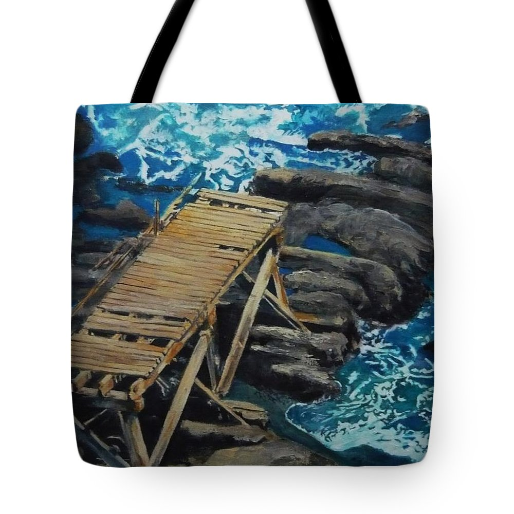 Dock Tote Bag featuring the painting Dock by Travis Day