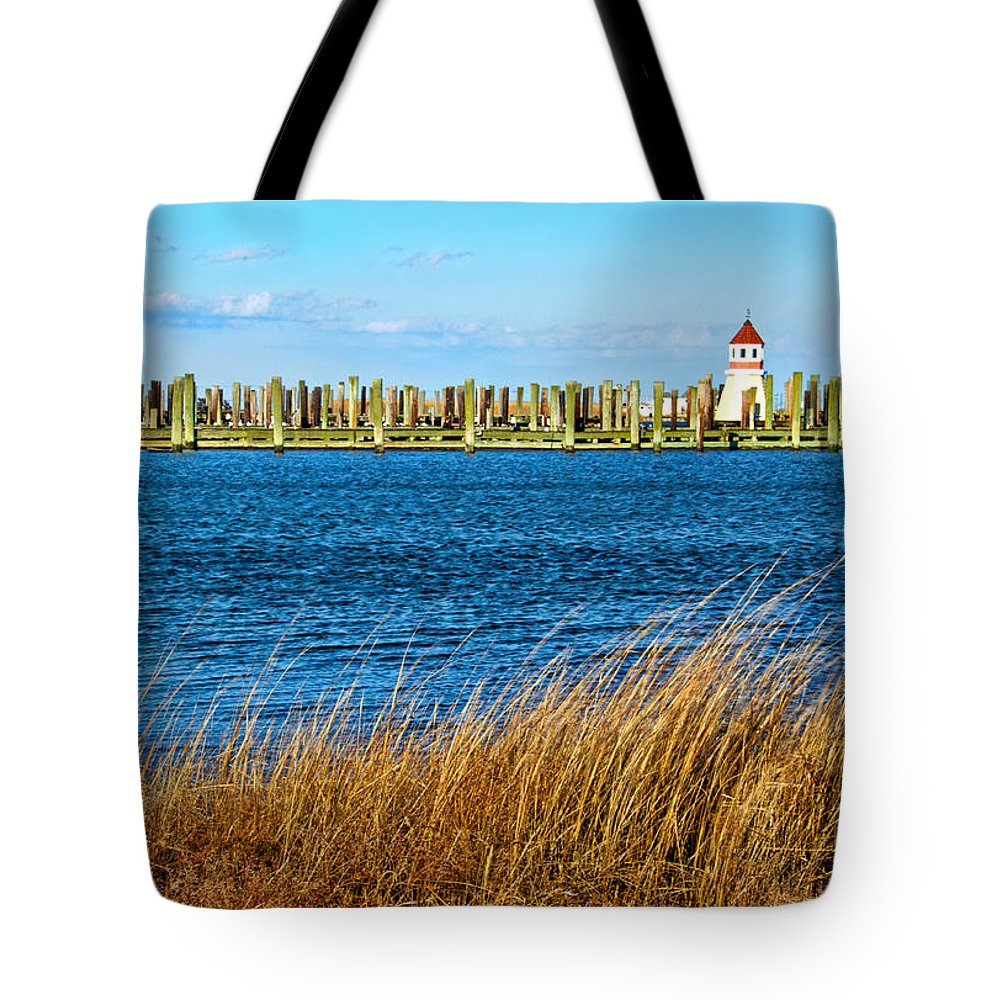 Docks On Cape May Harbor Tote Bag featuring the photograph Docks On Cape May Harbor by Carolyn Derstine