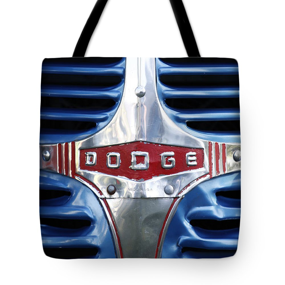 1946 Tote Bag featuring the photograph 46 Dodge Chrome Grill by Richard Lynch
