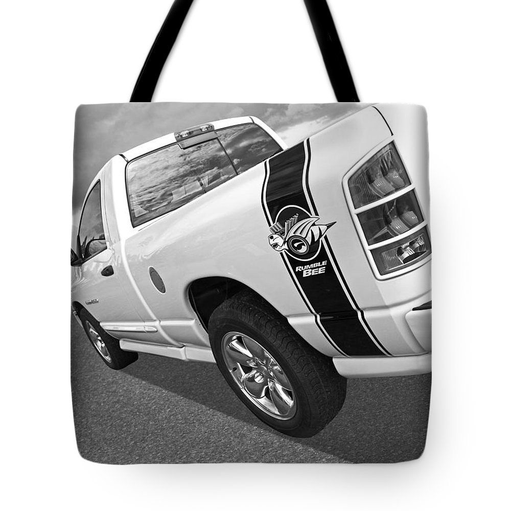 dodge rumble bee in black and white tote bag for sale by. Black Bedroom Furniture Sets. Home Design Ideas